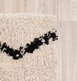 FRAAI Hoogpolig vloerkleed - Grand Moves Creme/Zwart