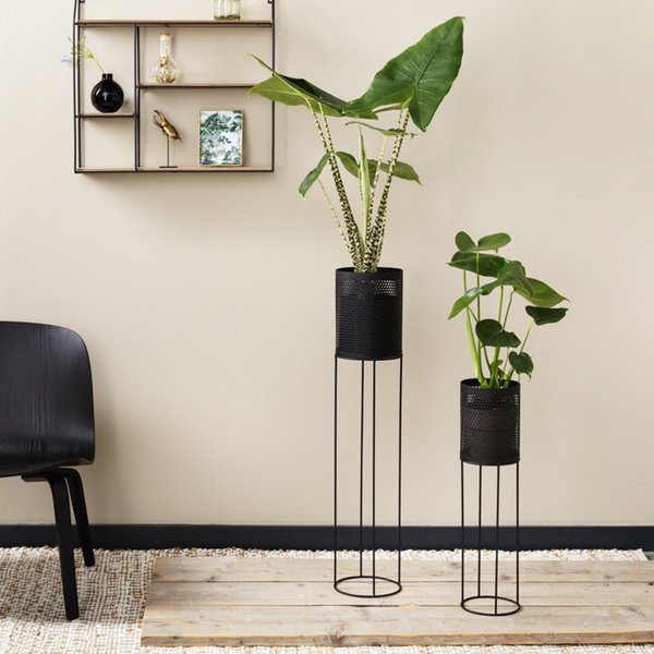 Lifa Living Metalen Plantenbak - June Zwart 2/set