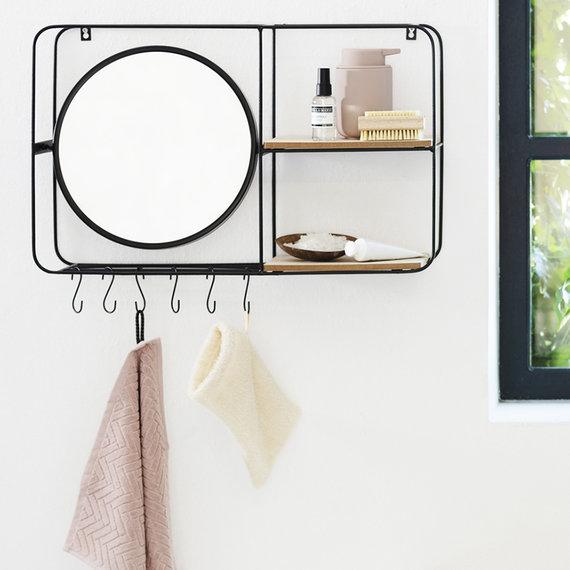 Lifa Living Wandrek met Spiegel - Metaal Horizontaal Zwart