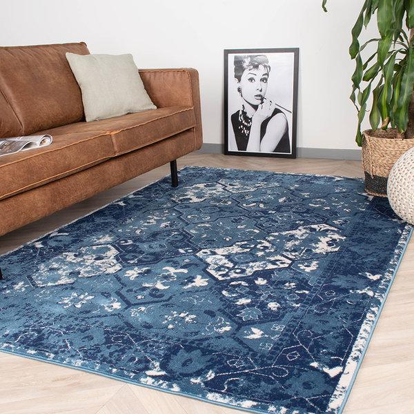 Vintage vloerkleed - Deep Tile  Blauw