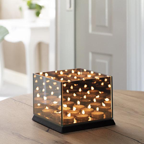 Never-ending Light Cube Waxinelichthouder - Zwart