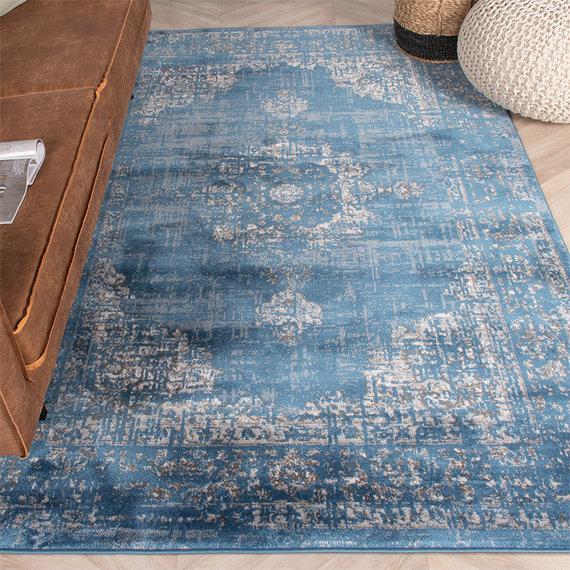 FRAAI Vintage vloerkleed -  Deep Medaillon Blauw