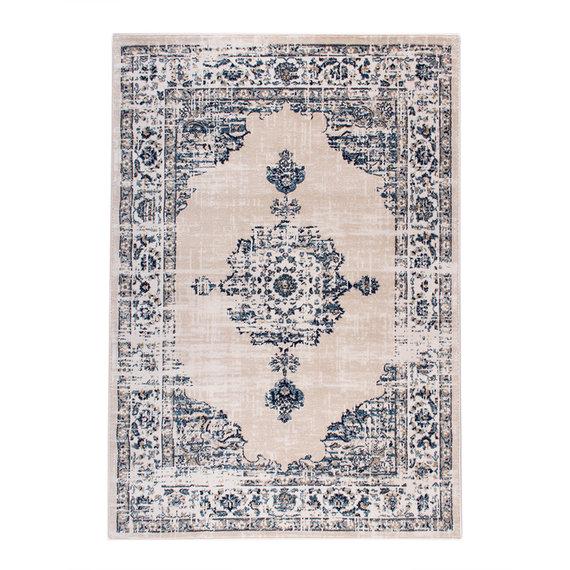 FRAAI Vintage vloerkleed -  Deep Medaillon Wit/Blauw