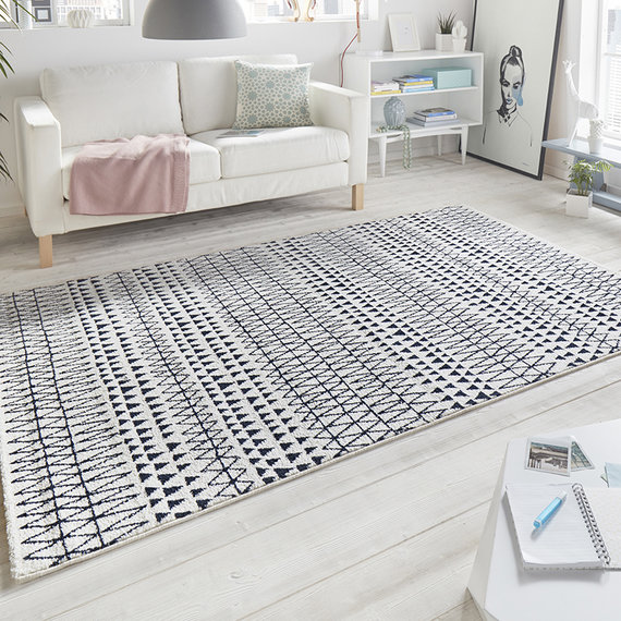 Mint Rugs Laagpolig vloerkleed - Madison Zwart/Creme