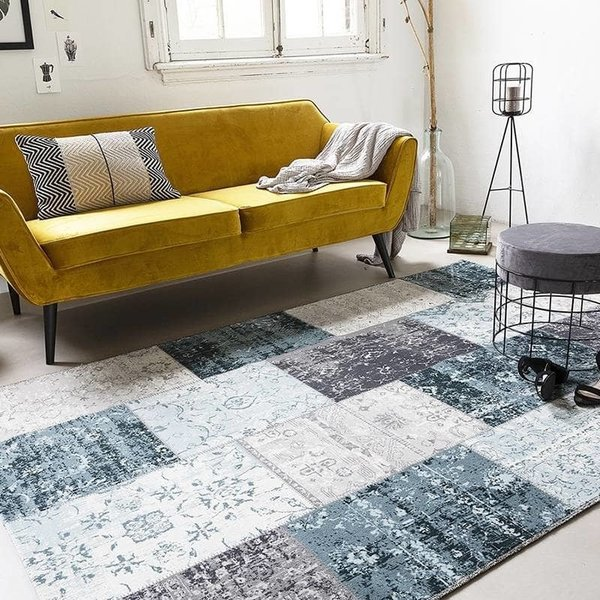 Lifa Living Vintage vloerkleed - Patchwork Grijs/Blauw
