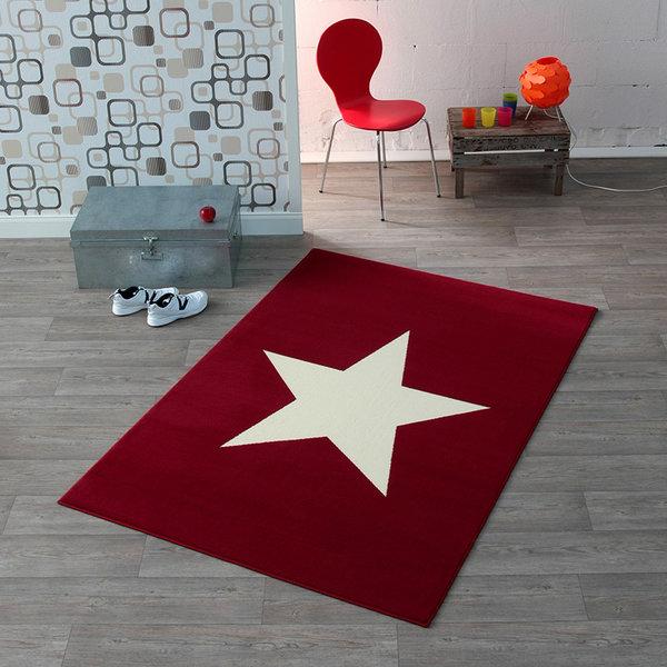 Kindervloerkleed - Ster Rood