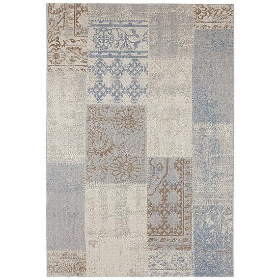 Bougari Patchwork buitenkleed  - Symi Blauw Bruin