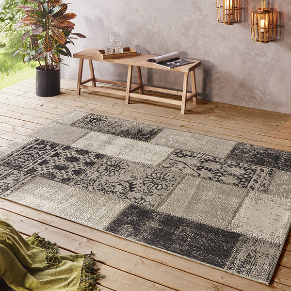 Patchwork buitenkleed  - Symi Taupe Zwart