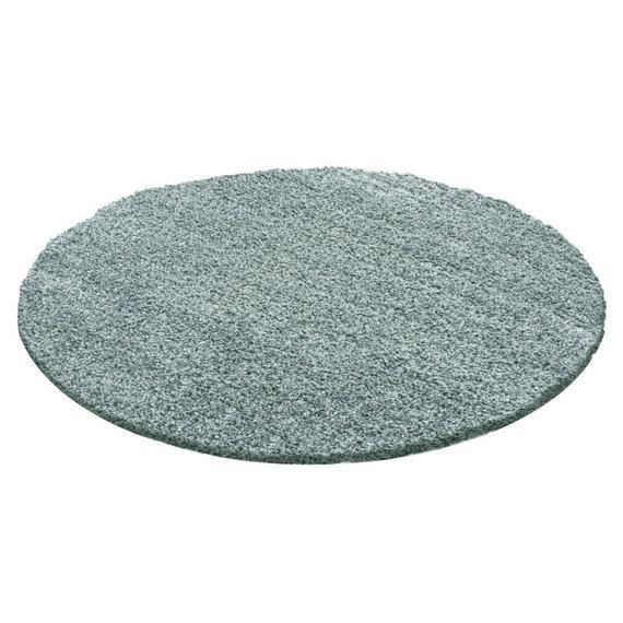 FRAAI Rond Hoogpolig vloerkleed - Solid Blauw/Groen