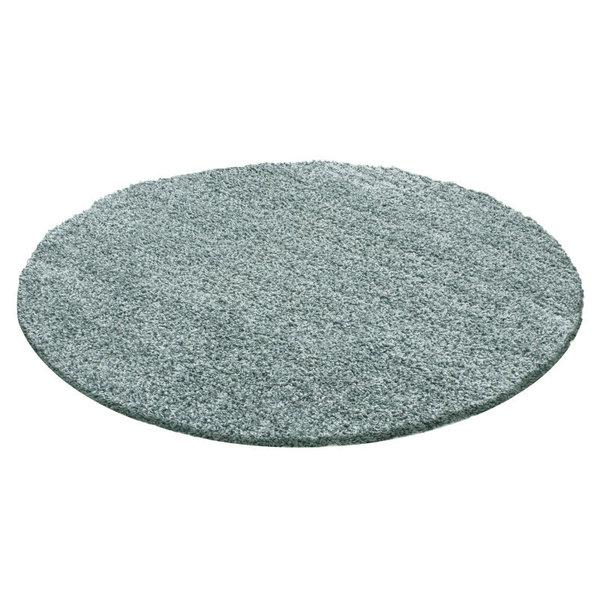 Rond Hoogpolig vloerkleed - Solid Blauw/Groen