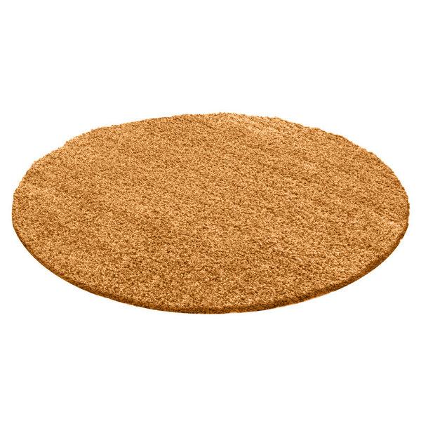 FRAAI Rond Hoogpolig vloerkleed - Solid Geel