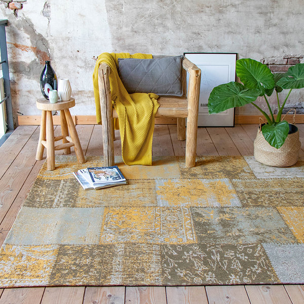 Patchwork vloerkleed - Dreams Okergeel