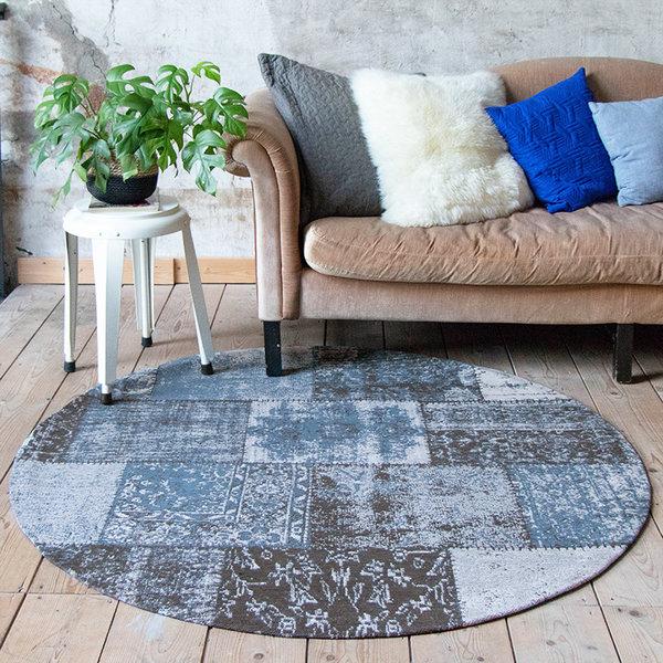 Rond patchwork vloerkleed - Dreams grijs/blauw