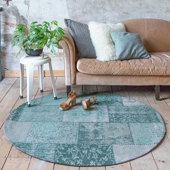 FRAAI Rond patchwork vloerkleed - Dreams mint turquoise