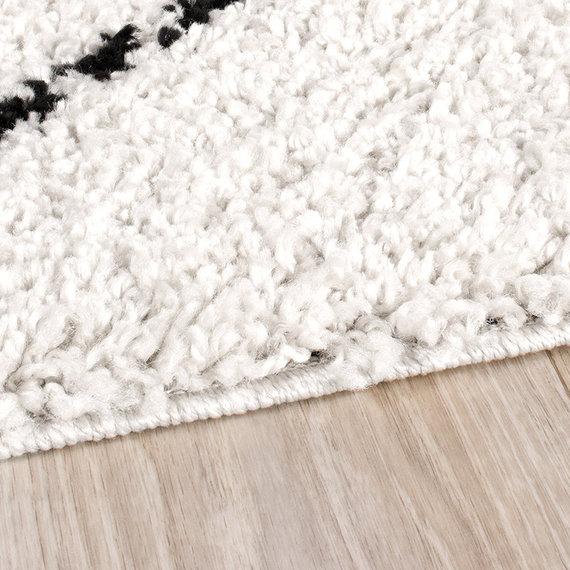 FRAAI Hoogpolig vloerkleed - Grand Lines Creme/Zwart