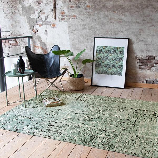 Vintage vloerkleed - Wonder Patchwork Groen/Zwart