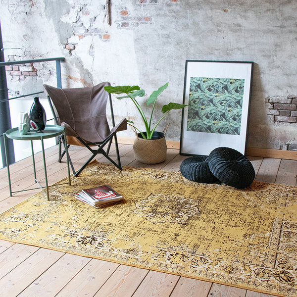 FRAAI Vintage vloerkleed - Wonder Geel/Zwart