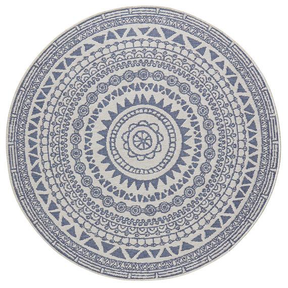 Bougari Rond buiten vloerkleed - Coron Blauw Creme