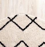 FRAAI Rond hoogpolig vloerkleed - Grand Diamond Creme/Zwart