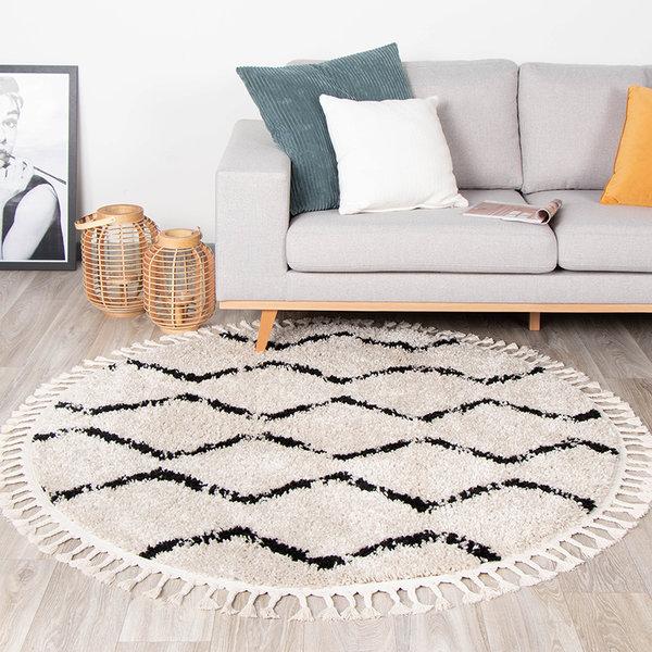 FRAAI Rond hoogpolig vloerkleed - Grand Wire Weave Creme/Zwart