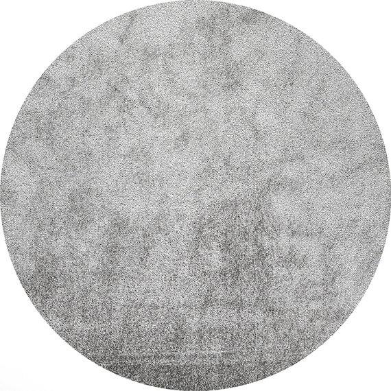 FRAAI Rond hoogpolig vloerkleed - Glazy licht grijs