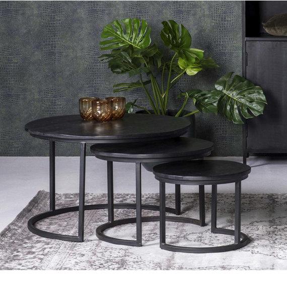 FRAAI Salontafel Mangohout - Ted zwart 3/set - 75x75x48 cm