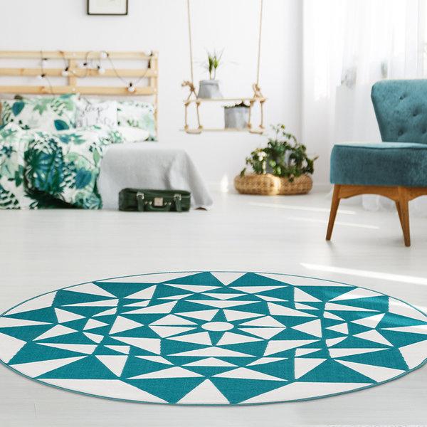 Rond modern vloerkleed - Espera 925 Turquoise