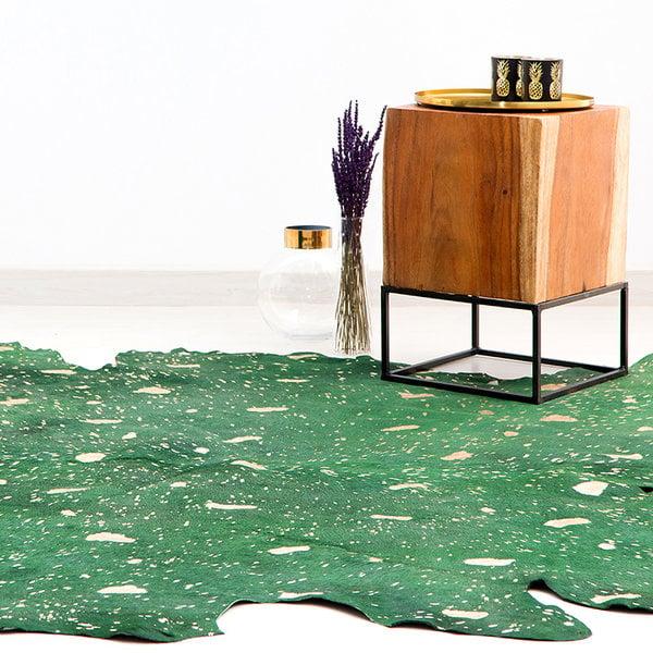 Kay Koeienhuid vloerkleed - Groen en Goud