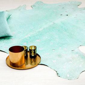Kay Koeienhuid vloerkleed - Lichtblauw met Zilver