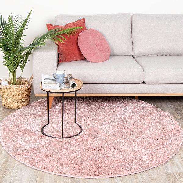 FRAAI Rond hoogpolig vloerkleed - Lofty Pink