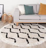 FRAAI Rond hoogpolig vloerkleed - Grand Wire Fringe Creme/Zwart