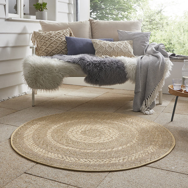 Bougari Rond Buitenkleed - Forest Beige/Bruin