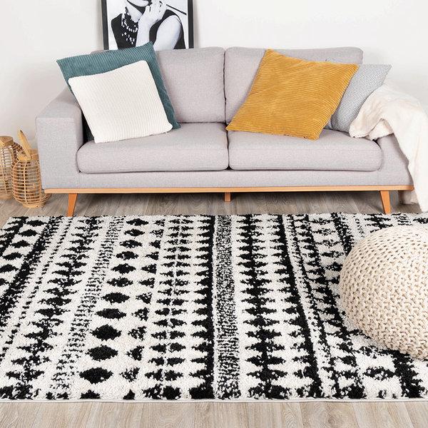 Hoogpolig vloerkleed - Grand Motive Creme/Zwart
