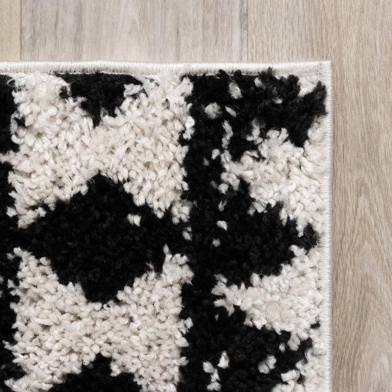 FRAAI Hoogpolig vloerkleed - Grand Motive Creme/Zwart