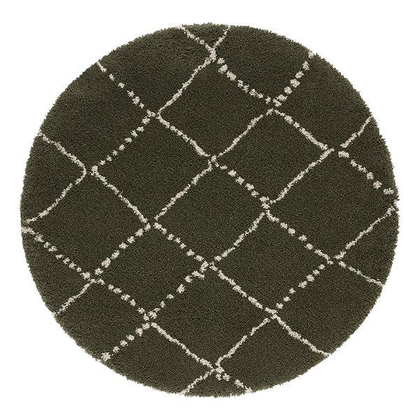 Mint Rugs Rond vloerkleed - Allure Hash Olijfgroen