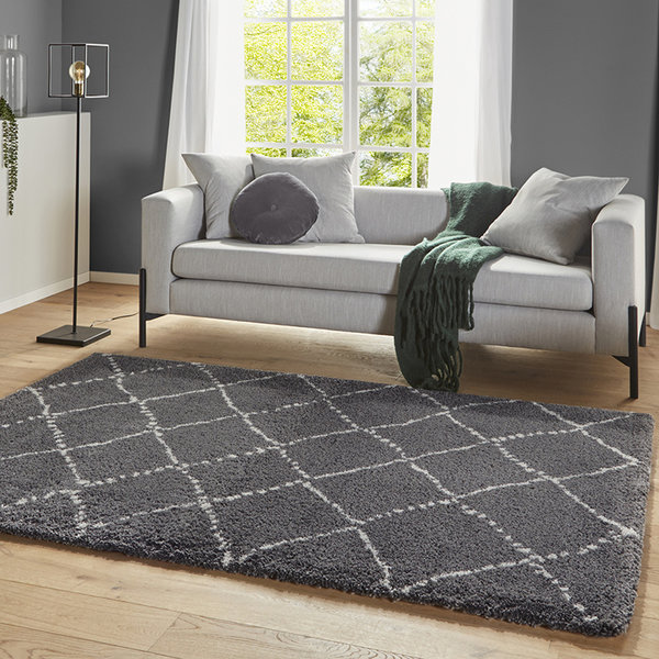 Mint Rugs Hoogpolig vloerkleed - Allure Hash Antraciet