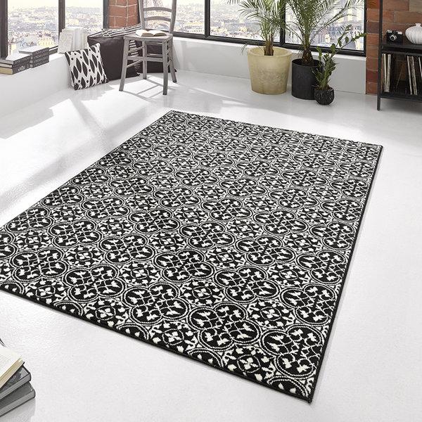Laagpolig vloerkleed - Gloria Pattern Zwart
