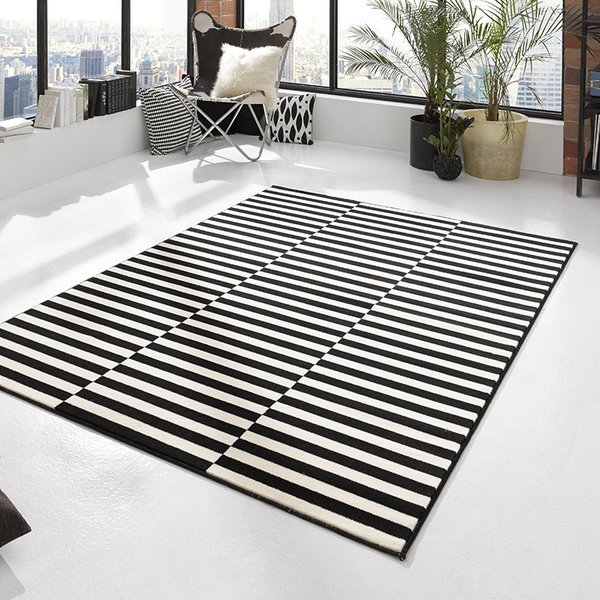 Laagpolig vloerkleed - Gloria Panel Zwart