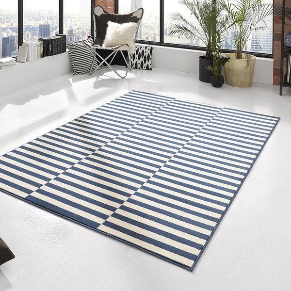 Laagpolig vloerkleed - Gloria Panel Blauw