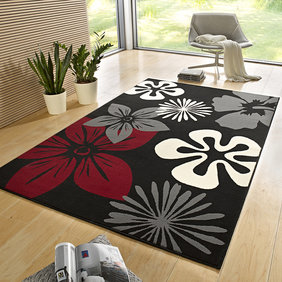 Hanse Home Bloemen vloerkleed - Gloria Flora Zwart Rood