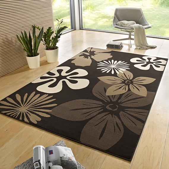 Hanse Home Bloemen vloerkleed - Gloria Flora Bruin Zwart