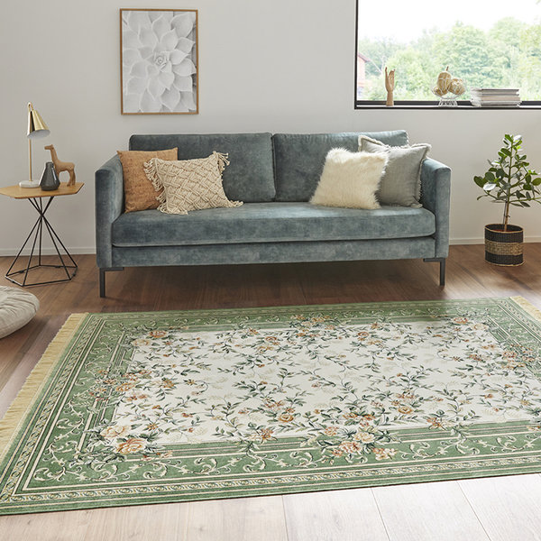 Perzisch tapijt - Naveh Flowers Groen Creme