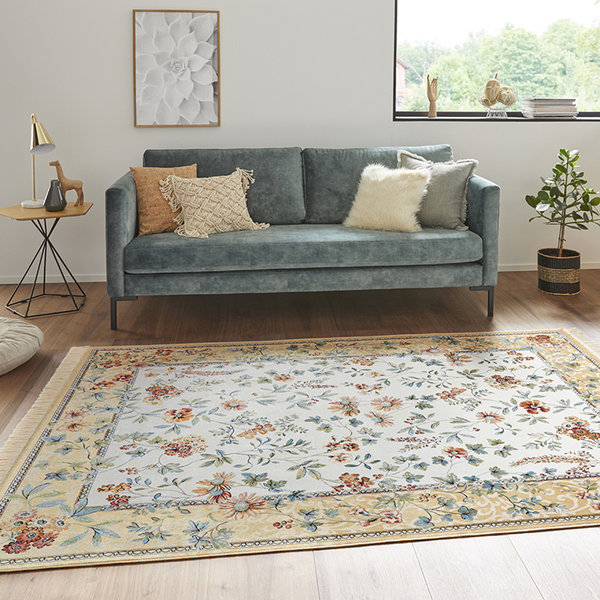 Perzisch tapijt - Naveh Flowers Edge Creme