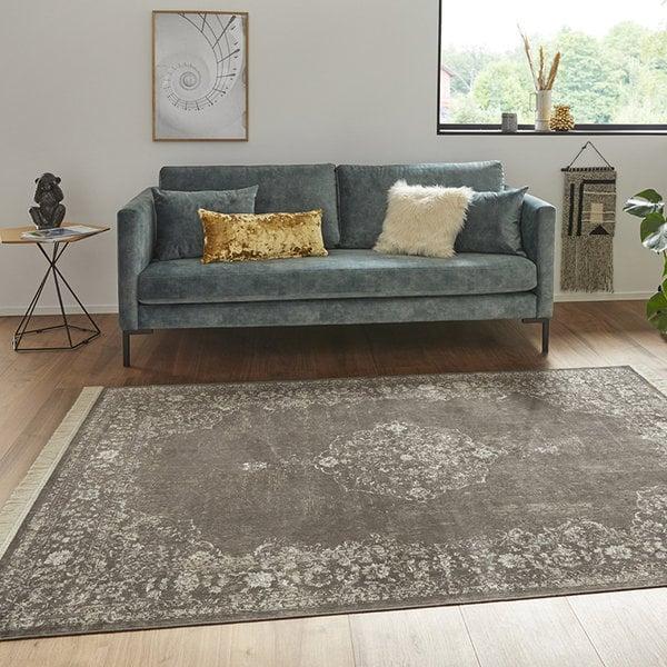 Nouristan Perzisch tapijt - Naveh Medaillon Antraciet