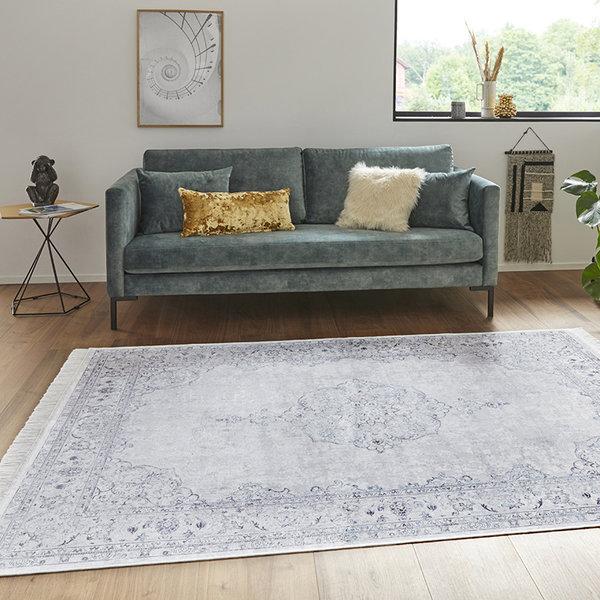 Perzisch tapijt - Naveh Medaillon Lichtblauw