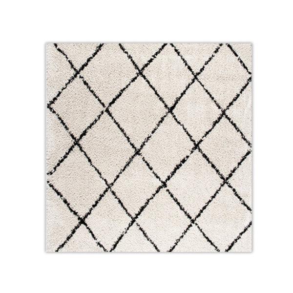 FRAAI Vierkant hoogpolig vloerkleed - Grand Lines Creme/Zwart