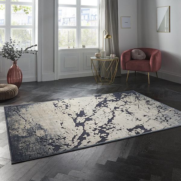 ELLE Decor Modern Vloerkleed - Creative Creuse Arroux Donkerblauw