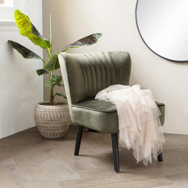 Lifa Living Velvet Fauteuil - Sophie Olijfgroen