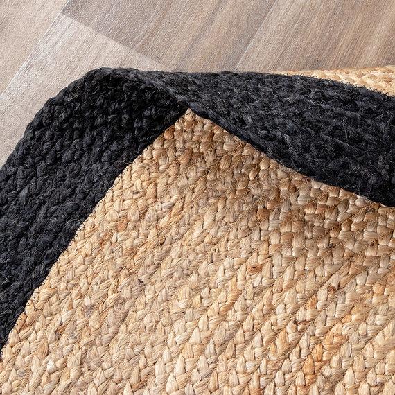 FRAAI Jute vloerkleed - Fair Rond naturel/zwart