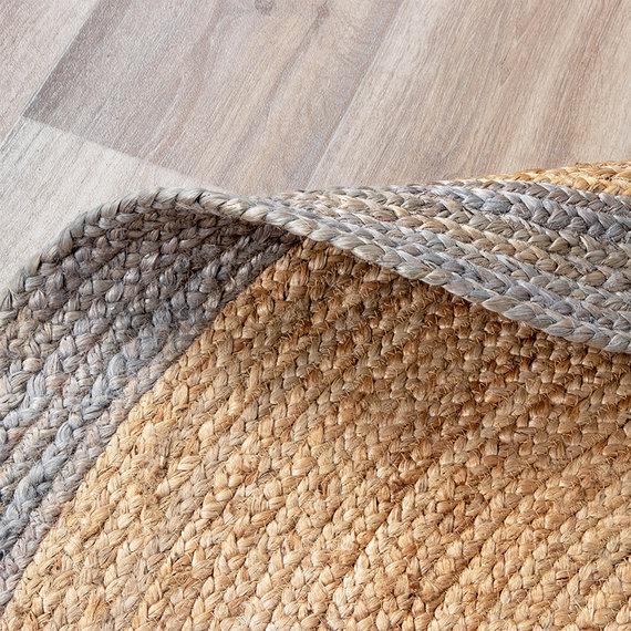 FRAAI Jute vloerkleed - Fair Rond naturel/grijs